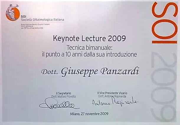 Immagine dell'attestato della Società Oftalmologica Italiana